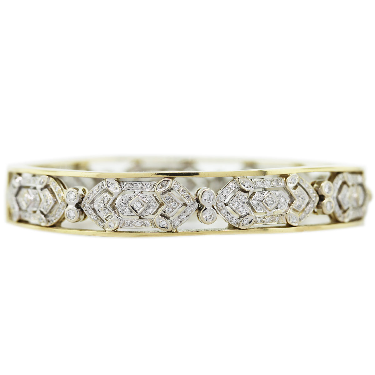 """""14K Yellow Gold Diamond Vintage Style Bangle Bracelet"""""" 2089674"