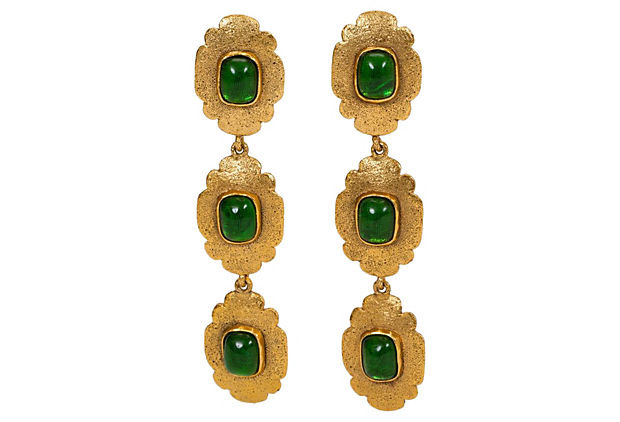 "Image of ""80s Chanel Long Green Gripoix Earrings"""