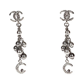 Chanel Rhinestone Chandelier Silver Tone Bead Earrings