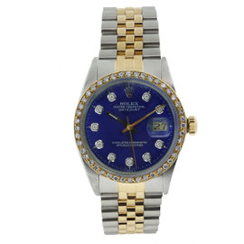 Rolex Datejust 16013 Stainless Steel & 18K Yellow Gold Diamond 36mm Watch
