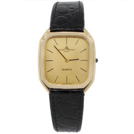 Baume & Mercier 18K Yellow Gold Quartz Black Leather Band Watch