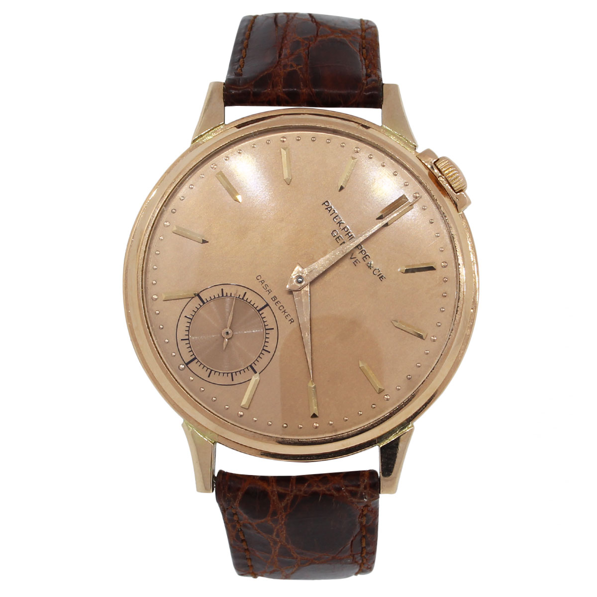 Patek Philippe Casa Becker 18K Rose Gold Brown Leather Watch