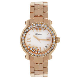 Chopard Happy Sport 277481 18K Rose Gold Mother Of Pearl Diamond Dial 36mm Unisex Watch