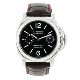 Panerai Luminor Marina PAM104 Stainless Steel on Leather Automatic 44mm Mens Watch