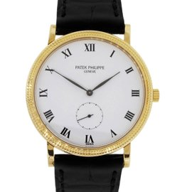 Patek Philippe Calatrava 3919 18K Yellow Gold Leather 33mm Unisex Watch