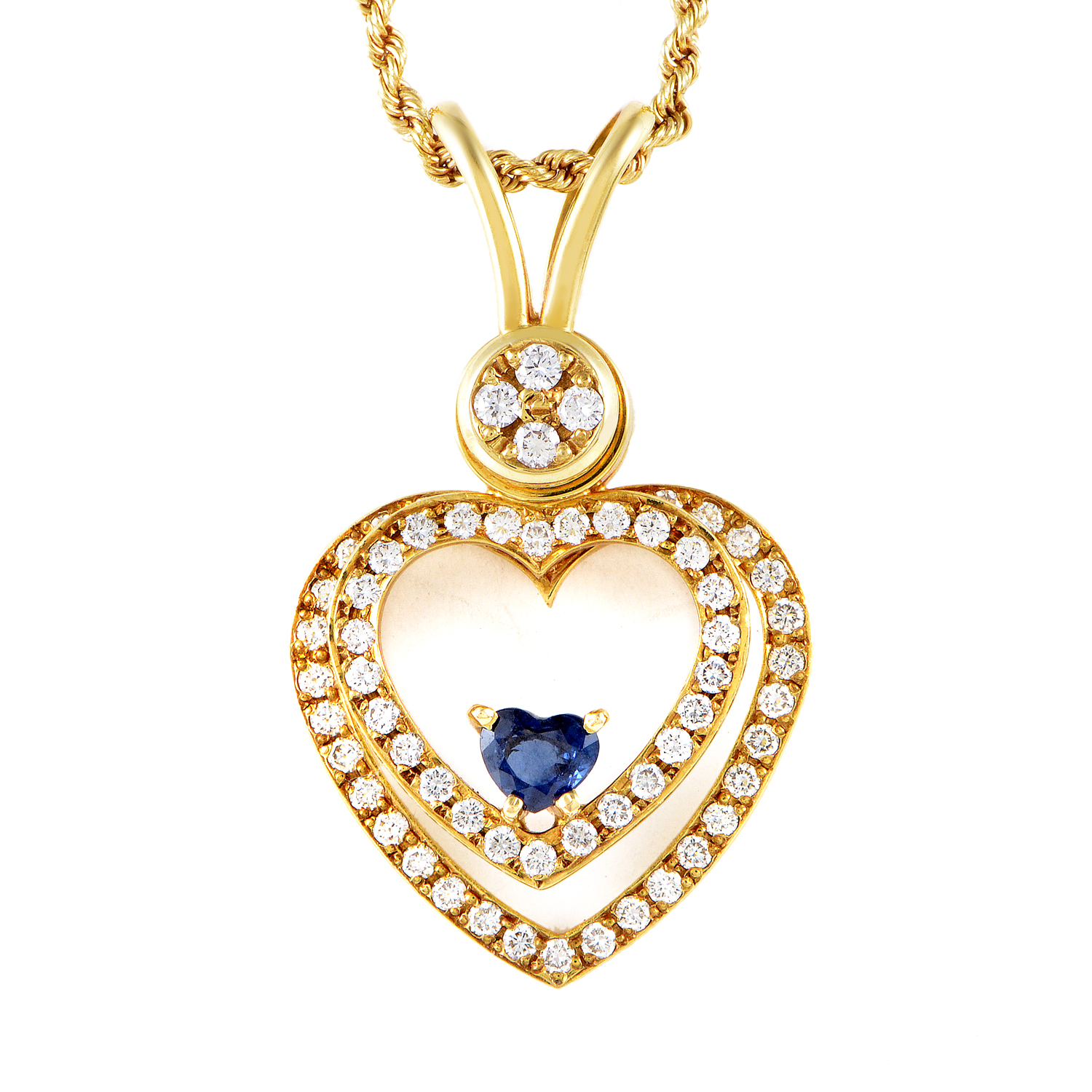 "Image of ""Waltham 18K Yellow Gold 1ct Diamond & Floating Sapphire Heart Pendant"""