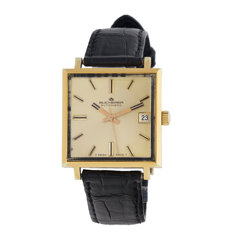 "Image of ""Bucherer Vintage 14K Yellow Gold-Tone Stainless Steel Square 30mm x"""
