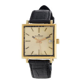 Bucherer Vintage 14K Yellow Gold-Tone Stainless Steel Square 30mm x 30mm Watch