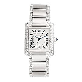 Cartier Tank W51002Q3 Stainless Steel with Custom Diamonds Unisex Watch