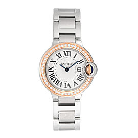 Cartier Ballon Bleu WE902079 Silver Dial Stainless Steel and 18k Rose Gold 28mm Womens Watch