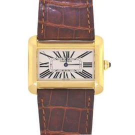 Cartier 18K Yellow Gold Brown Leather Quartz Watch