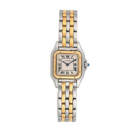 Cartier Small Panthere Two Tone 18k Yellow Gold and Steel Quartz Womens Watch