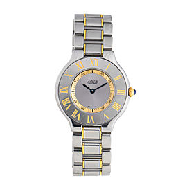 Cartier Must de 21 1330 18K Yellow Gold & Stainless Steel Silver Dial 31mm Watch