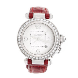 Cartier Pasha 2528 18K White Gold With Diamond Bezel 32mm Womens Watch