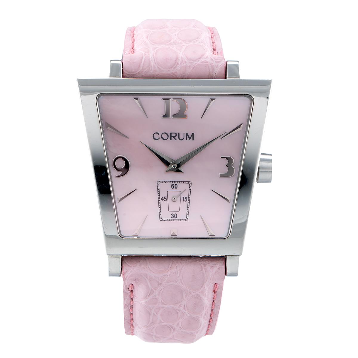 "Image of ""Corum Trapeze 106.404.20 Pink Steel Diamond Quartz 40mm Womens Watch"""
