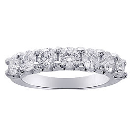 7 Stone Diamond & 14K White Gold Wedding Anniversary Band Ring