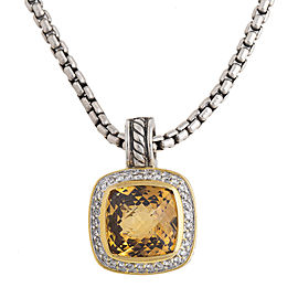 David Yurman Sterling Silver & Yellow Gold Citrine Diamond Pendant Necklace
