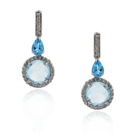 18K White Gold & Diamond Blue Topaz Drop Dangle Earrings