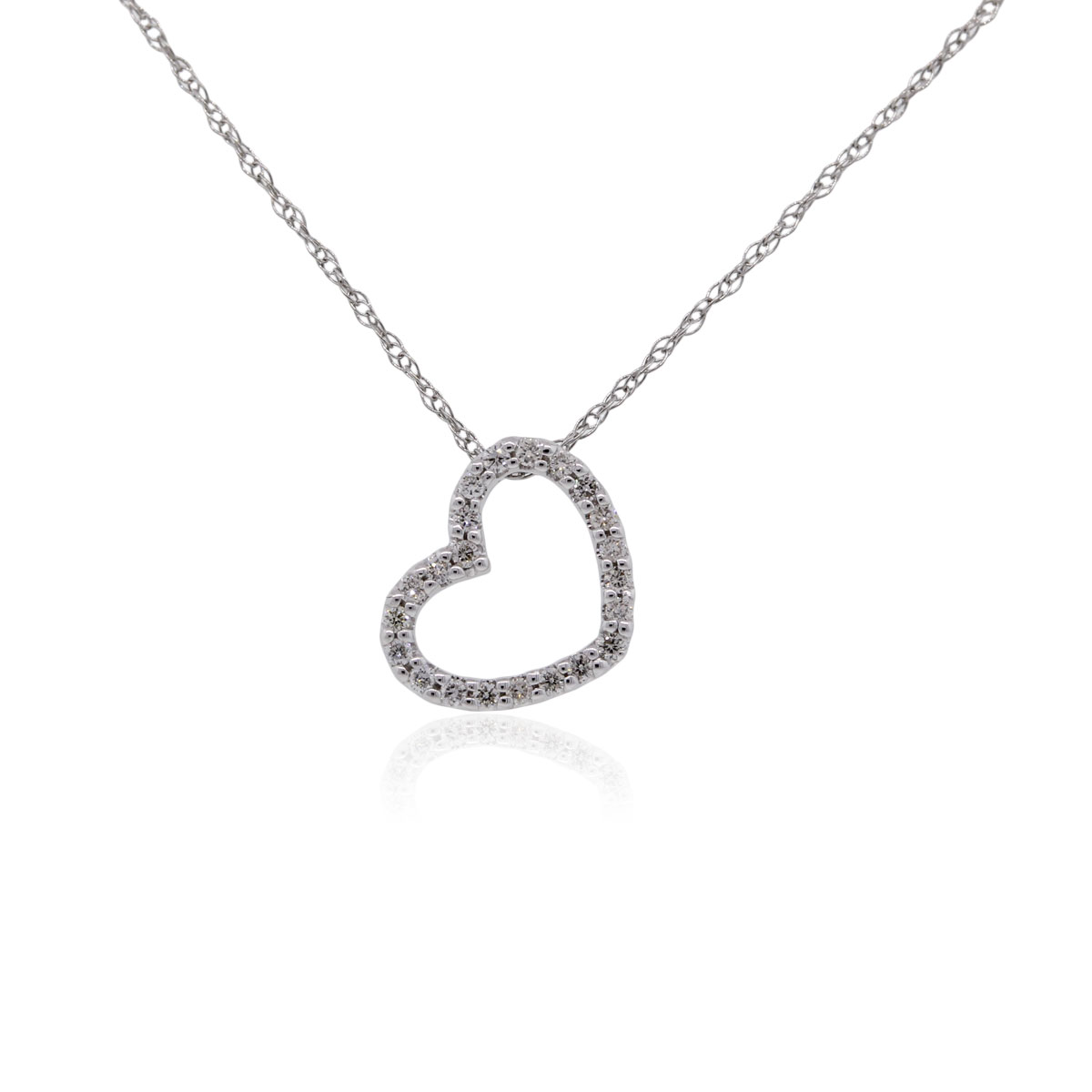 "Image of ""Gabriel & Co. 14K White Gold & 0.11ct. Diamond Heart Pendant Necklace"""