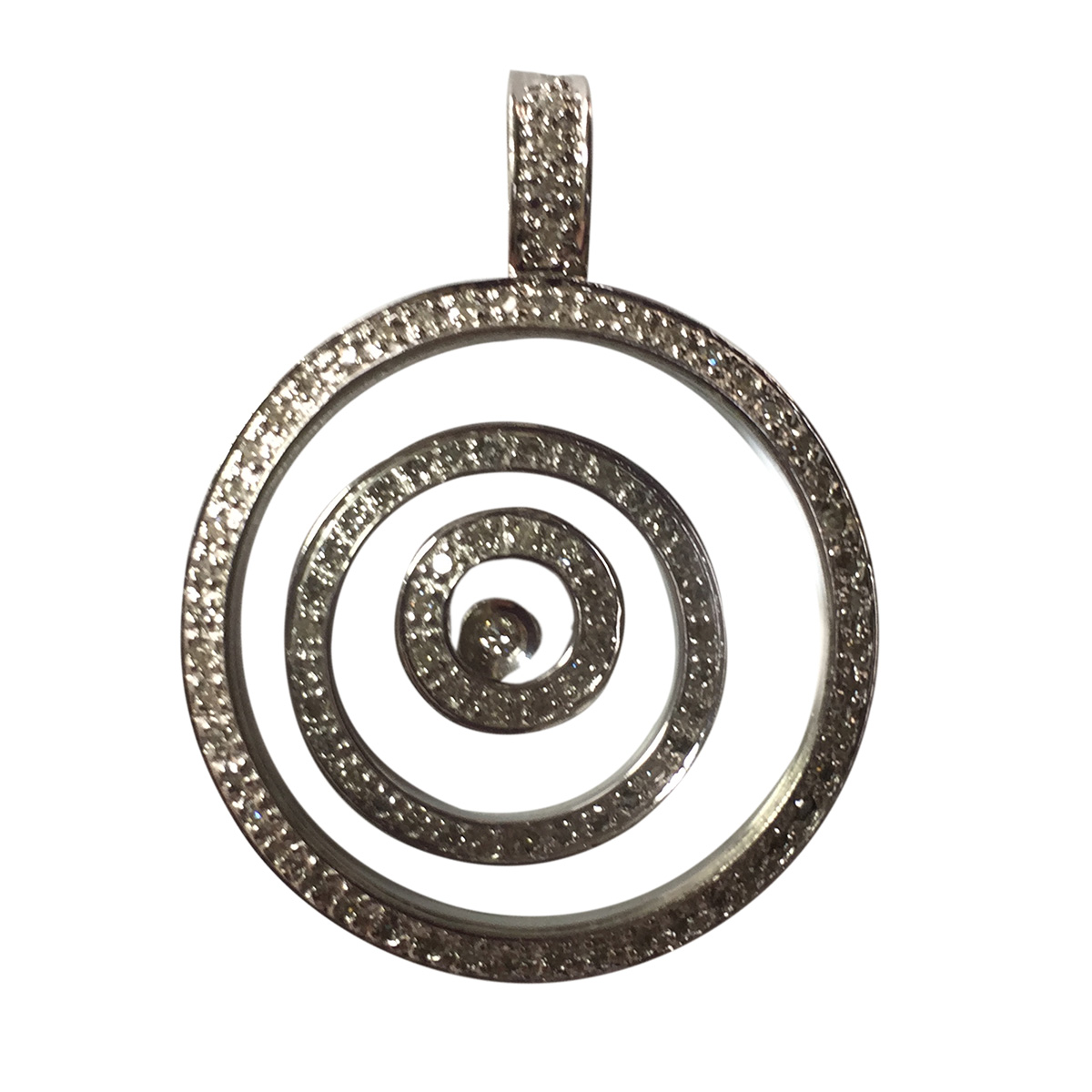 "Image of ""White Gold & Diamond Circles Glass Pendant"""