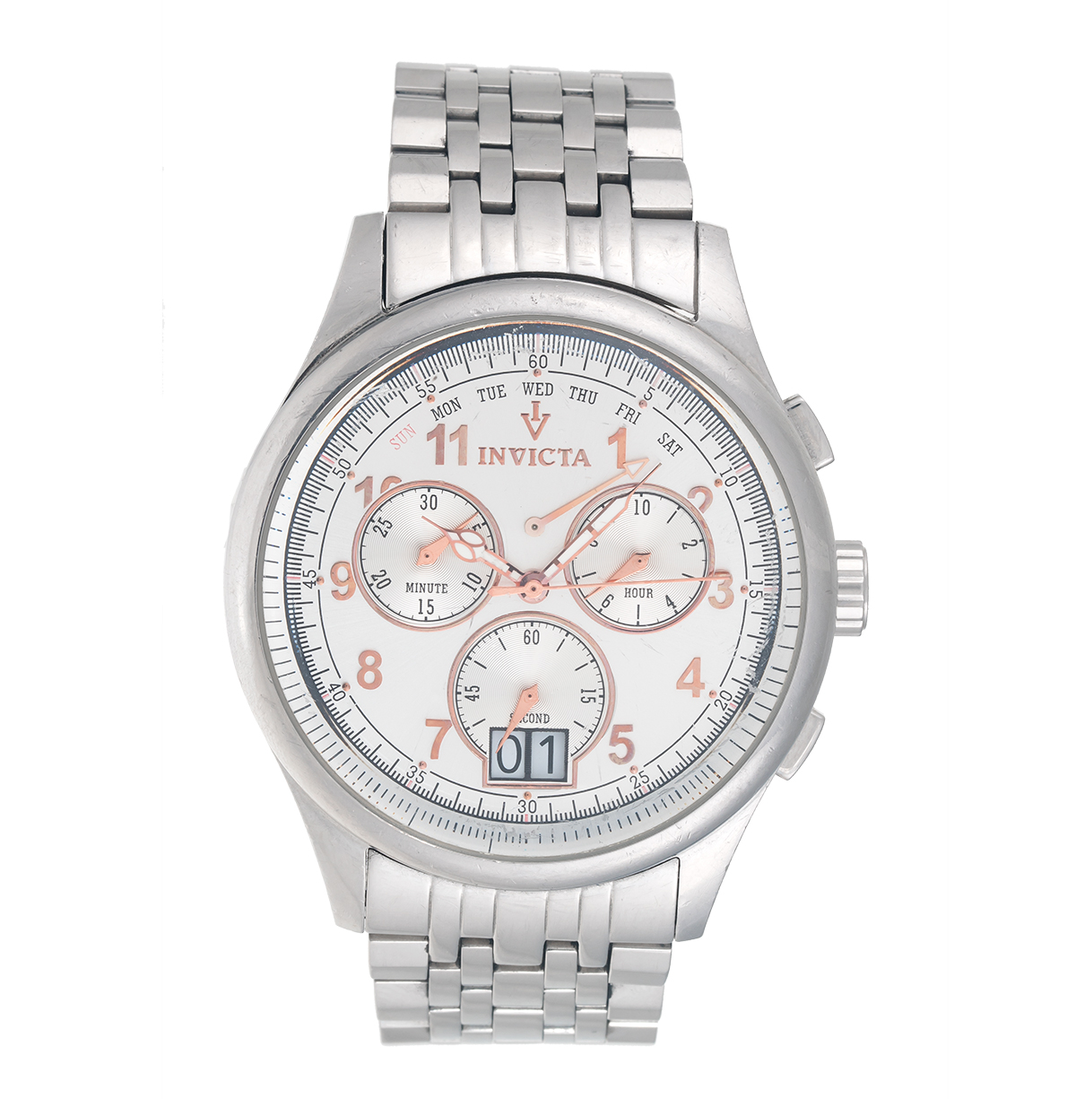 "Image of ""Invicta 0418 Stainless Steel Swiss Quartz Chronograph 47mm Mens Watch"""