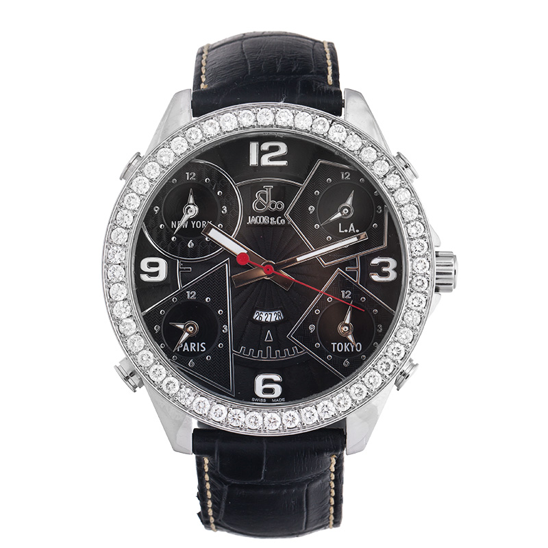 """Image of """"Jacob & Co. Five Time Zone Jc-2 Stainless Steel 3.25 Ct Diamond 47mm"""""""