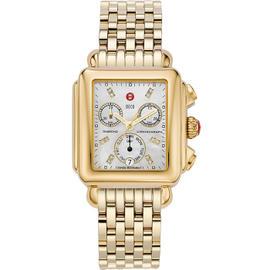 Michele Signature Deco Diamond Dial Gold