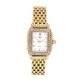 Michele Gold Plated Stainless Steel Mini Deco 0.36ct. Diamond Bezel 24mm Womens Watch