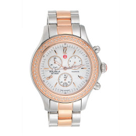 Michele Jetway MW17A01D2025 Stainless Steel and Rose Gold Plating 112 Diamonds 44mm Womens Watch