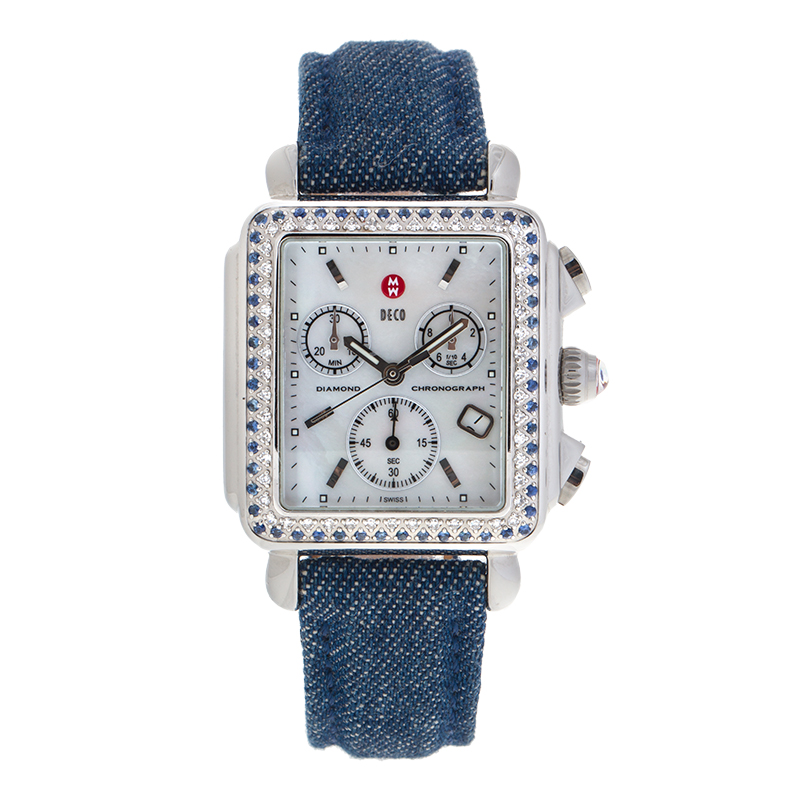 """Image of """"Michele Stainless Steel Deco Chronograph Diamond and Blue Sapphire"""""""