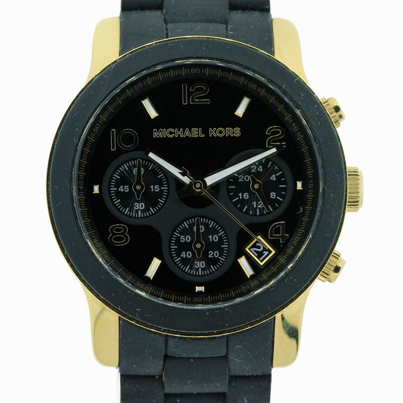 "Image of ""Michael Kors Chronograph Runway Stainless Steel and Black Polyurethane"""