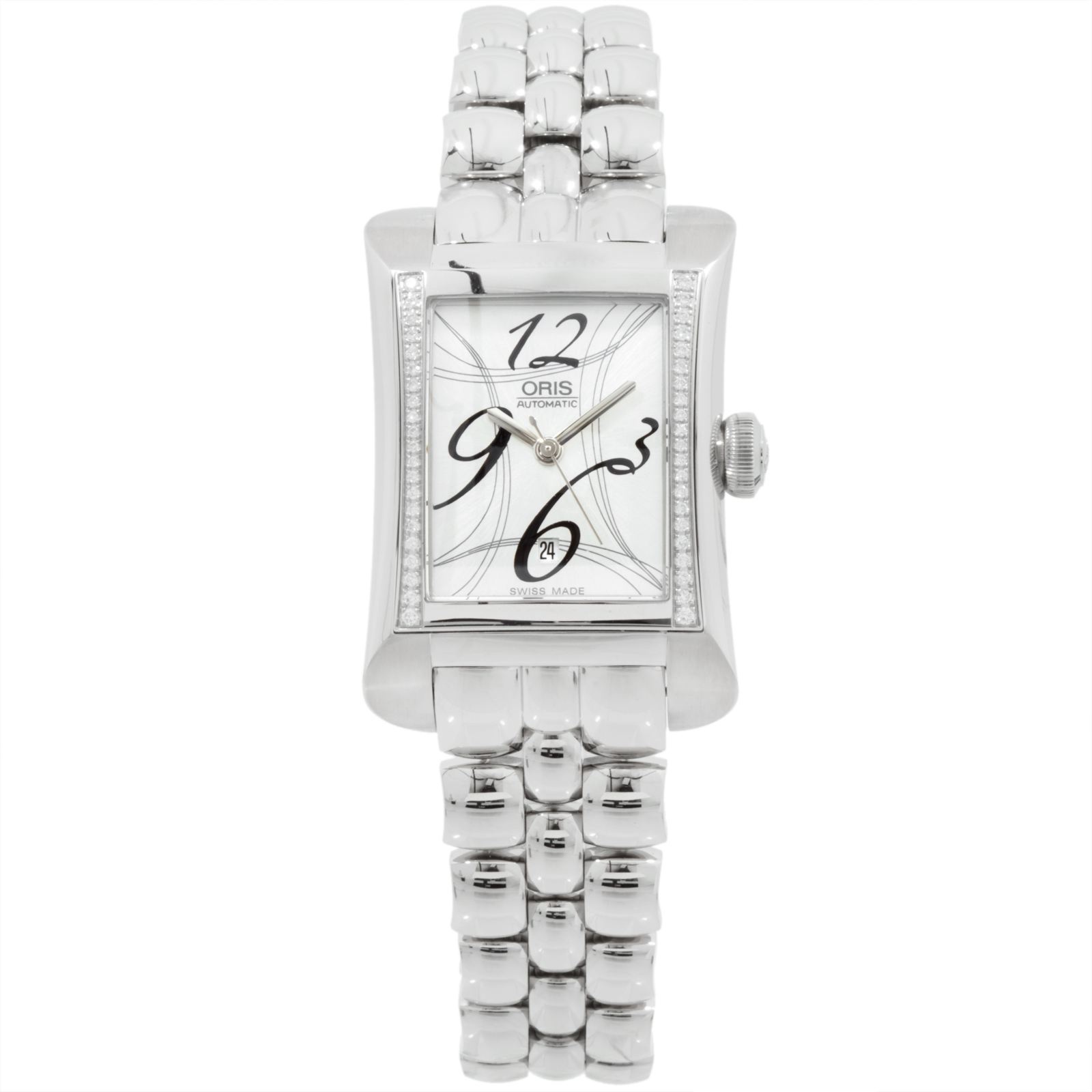 "Image of ""Oris Miles Rectangular 561 7621 4961 MB Stainless Steel Womens Watch"""