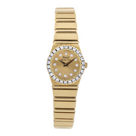 Piaget Polo 18K Yellow Gold Diamond Dial and Bezel 21mm Watch