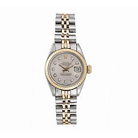 Rolex Datejust 6917 Two Tone Custom Diamond Dial 26mm Vintage Womens Watch 1975