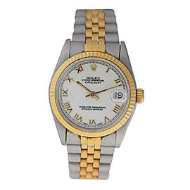 Rolex Datejust 68273 18k Yellow Gold & Stainless Steel White Dial 31mm Watch