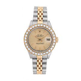Rolex Datejust Two-Tone 69173 Custom Diamond Bezel Womens Watch