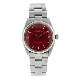 Rolex Oyster Perpetual Red Dial 36mm Mens Watch