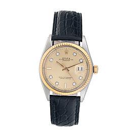 Rolex Datejust Two-Tone 1603 Unisex Custom Diamond Dial Watch