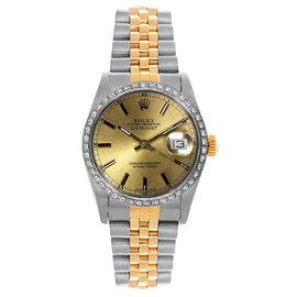 Rolex Datejust Two Tone Custom Diamond Bezel Champagne Index Dial Women's Watch