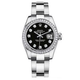 Rolex Datejust Steel Oyster Custom Band with Custom Diamond Bezel and Black Diamond Dial Womens Watch
