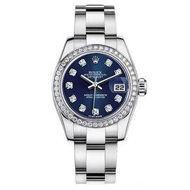 Rolex Datejust Steel Oyster Custom Band with Custom Diamond Bezel and Blue Diamond Dial Womens Watch