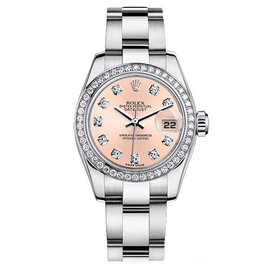 Rolex Datejust Steel Oyster Custom Band with Custom Diamond Bezel and Pink Diamond Dial Womens Watch