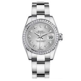Rolex Datejust Style Steel Oyster Diamond Bezel and Silver Diamond Dial Women's Watch