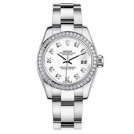 Rolex Datejust Steel Oyster Custom Band with Custom Diamond Bezel and White Diamond Dial Womens Watch
