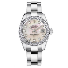 Rolex Datejust Steel Oyster Custom Band with Custom Diamond Bezel and Mother of Pearl Diamond Dial Womens Watch