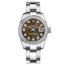 Rolex Datejust Steel Oyster Custom Band with Custom Diamond Bezel and Black Mother of Pearl Diamond Dial Womens Watch