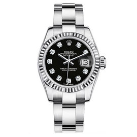 Rolex Datejust Steel Oyster Custom Band with Black Diamond Dial Womens Watch