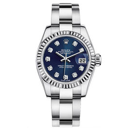 Rolex Datejust Steel Oyster Custom Band with Blue Diamond Dial Womens Watch