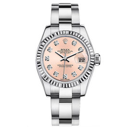 Rolex Datejust Steel Oyster Custom Band with Pink Diamond Dial Womens Watch