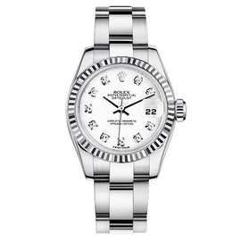 Rolex Datejust Steel Oyster Custom Band with White Diamond Dial Womens Watch